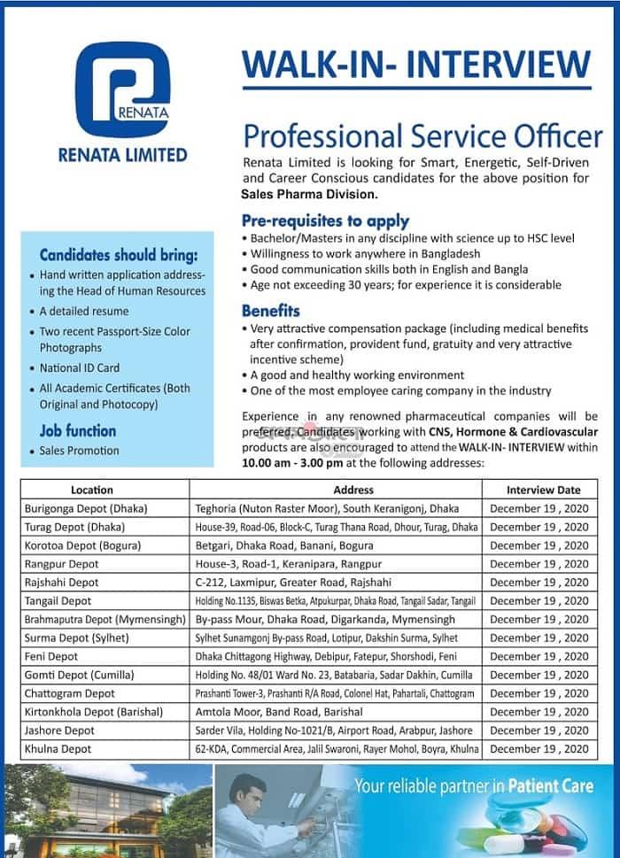 Renata pharma job circular