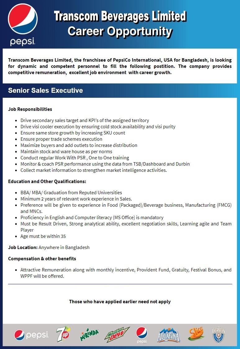 Transcom Beverage Job Circular 2021